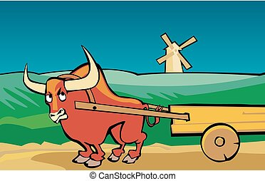Angry bull drags the cart along the road. Rural landscape...