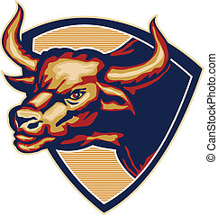 Angry Bull Head Crest Retro - Illustration of an angry...