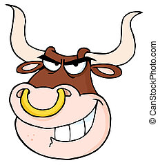 Angry Bull Head Looking Cartoon