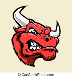 Angry bull head mascot - Multi Colors Illustration of Angry...