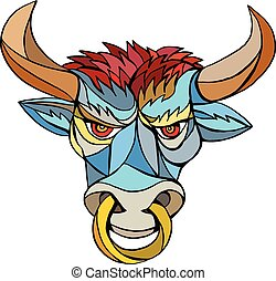 Angry Bull Head Mosaic - Mosaic style illustration of an...