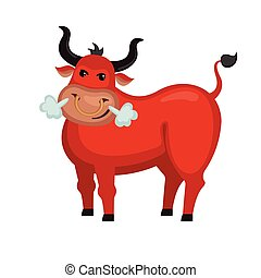 Angry bull in flat style.