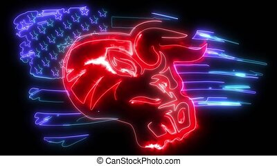 Angry bull, logo, symbol american flag video