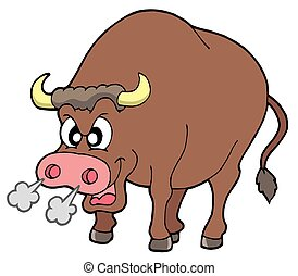 Angry bull on white background - isolated illustration.