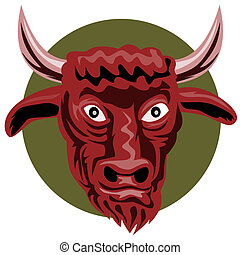 Angry bull staring you in - Illustration on wildlife