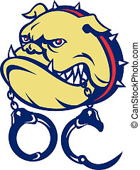 Angry bulldog dog head handcuffs - illustration of an Angry...