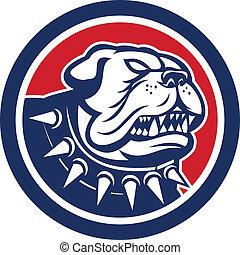 Angry Bulldog Dog Mongrel Head Mascot - Illustration of an...