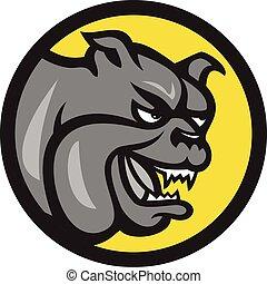 Angry Bulldog Head Circle Cartoon