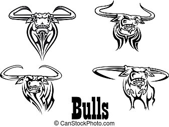 Angry buls mascot s and tattoos - Angry black bull mascots...