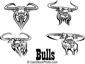 Angry buls mascot s and tattoos - Angry black bull mascots...