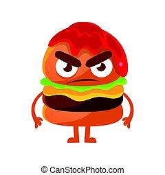 Angry burger with ketchup. Cute cartoon fast food emoji character vector Illustration