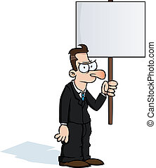 Angry business man with protest sign
