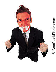 Angry business man with red exploding face