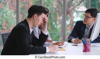 Angry business person dispute work problem in group meeting ...