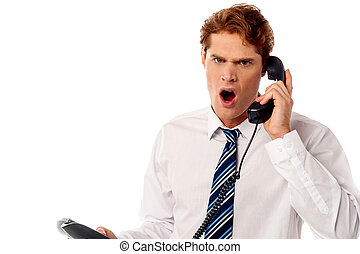 Angry business professional yelling - Unhappy business...