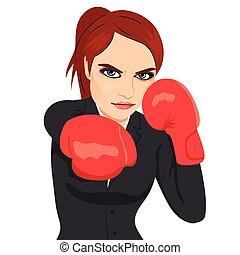 Angry business woman boxing punching ready to fight
