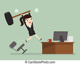 Furious frustrated business woman hitting the computer