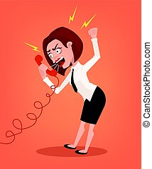 Angry business woman office worker consultant character shouting and yelling on phone. Vector flat cartoon illustration