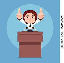 Angry business woman office worker politician character speaking from rostrum and showing middle finger. Vector flat cartoon illustration