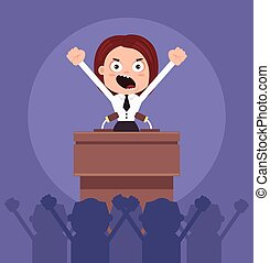 Angry business woman office worker politician character speaking from rostrum. Revolt concept. Vector flat cartoon illustration
