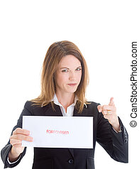 Angry Business Woman Pointing Finger, Foreclosure