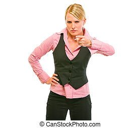 Angry business woman shaking finger