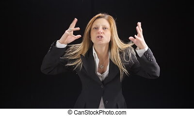 angry business woman shouting - furious angry girl screaming...
