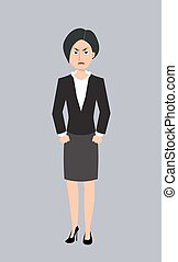 angry business woman vector character