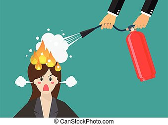 Angry business woman with head on fire gets help from man with extinguisher