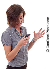 Angry business woman with mobile phone