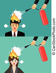 Angry businessman and woman with head on fire gets help from man with extinguisher
