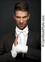 Angry businessman boxer