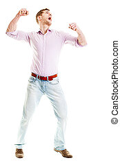 Angry Businessman full length isolated