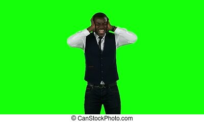 Angry businessman. Green screen