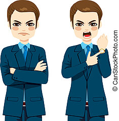 Angry Businessman Late Concept - Arriving late concept,...