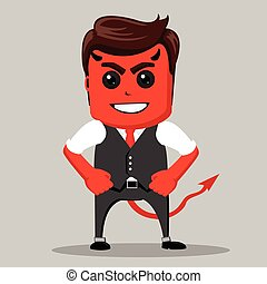 Angry businessman. Male as a devil. Business man red as a demon.