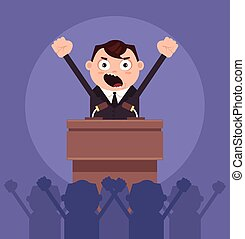 Angry businessman office worker politician man character speaking from rostrum. Revolt concept. Vector flat cartoon illustration