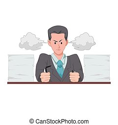 Angry businessman or manager with the steam from his ears and surrounded by a heap of documents. A lot of work before the project is due. Deadline. Cartoon character isolated on white background.