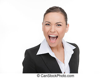 Angry businessman. Portrait of attractive young shouting while isolated on white