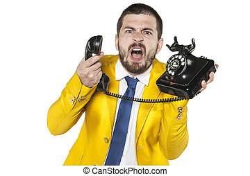 angry businessman screaming to the phone, funny facial expressions