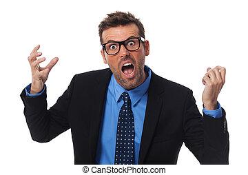 Angry businessman screaming very loud