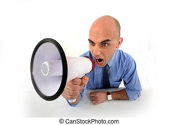 angry businessman shouting in loudspeaker