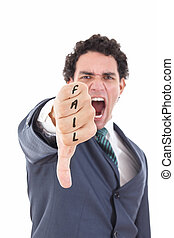 Angry businessman showing thumb down gesture as rejection...