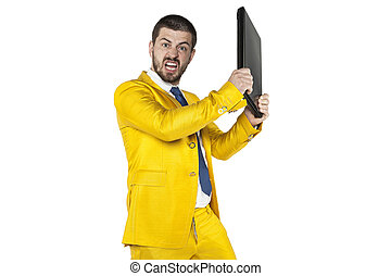 angry businessman smashing computer