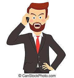 Angry businessman talking on the phone