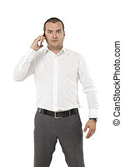 angry businessman with a smart phone