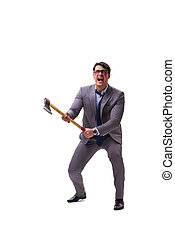 Angry businessman with axe isolated on white