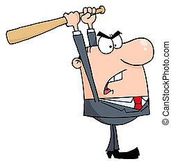 Caucasian Businessman Holding A Bat Over His Head
