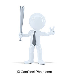 Angry businessman with baseball bat. Isolated on white...