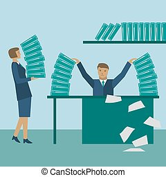 Angry businessman with business reports on his table vector illustration
